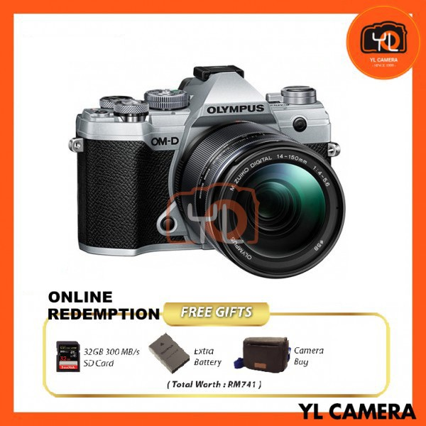 Olympus OM-D E-M5 Mark III W/ 14-150mm Lens - Silver [Online Redemption Extra Battery + 32GB SD Card UHS-II + Olympus Bag]