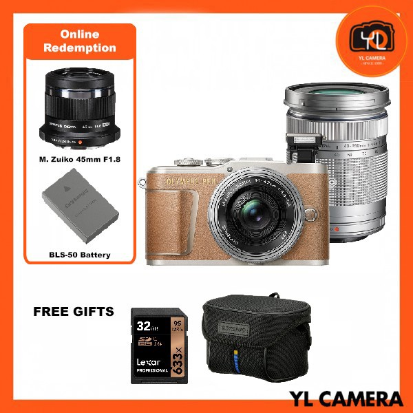 Olympus E-PL9 Twin Lens Kit [14-42mm + 40-150mm] (Brown) [Free Lexar 32GB 95MB SD Card + Olympus Camera Bag] [Online Redemption 45mm F1.8 + Extra Battery]