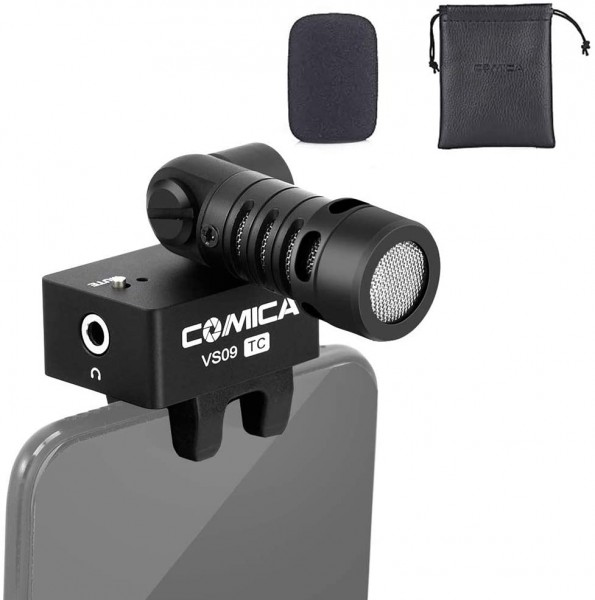 (PRE-ORDER) Comica CVM-VS09TC Cardioid Smartphone Microphone for Phone w Type-C interface Super Recording 180 Rotation Real-Time Monitoring
