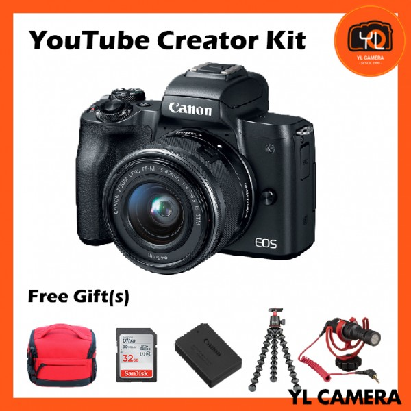 Canon EOS-M50 + EF-M 15-45mm F/3.5-6.3 IS STM (Black) [Youtube Creator Kit]