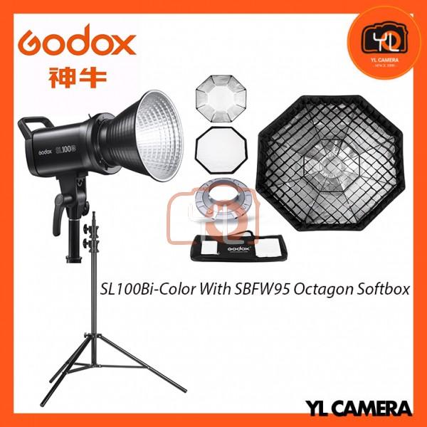 Godox SL100Bi Bi-Color LED With SB-FW95cm Octagon Soft Softbox + 280CM Light Stand (1 Light Kit)