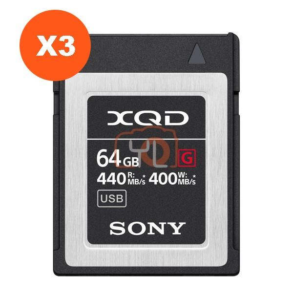 Sony 64GB XQD G Series Memory Card (Pack of 3)