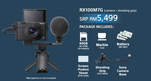 (Pre-Order) Sony RX100 Mark VII [Free Shooting Grip + Sony Camera Base + 64GB SD Card + NP-BX1 + Screen Protector + RX Marble Camera Case)