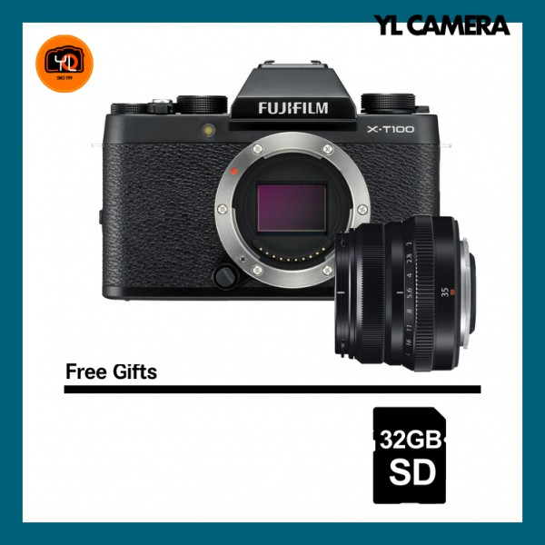 (Special Deal) Fujifilm X-T100 + XF 35mm F2 R WR (Black) [Free 32GB SD Card]