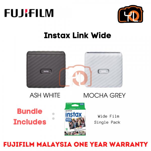 FUJIFILM INSTAX Link Wide Smartphone Printer (Ash White) - Bundle