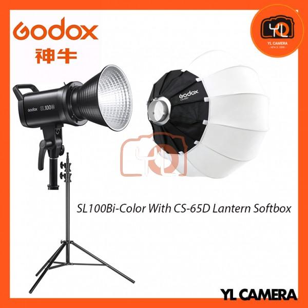 Godox SL100Bi Bi-Color LED With CS-65D Collapsible Lantern Softbox + 280CM Light Stand (1 Light Kit)