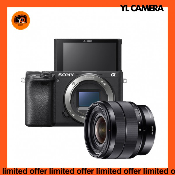 (Limited Offer) Sony a6400 (Black) + E 10-18mm F4 OSS [Free 64GB SD Card]