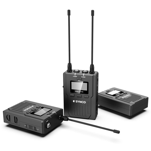 Synco Audio WMic-T2 96-Channel UHF Metal Wireless Microphone with Dual Transmitters and Receiver, 120m Working Range
