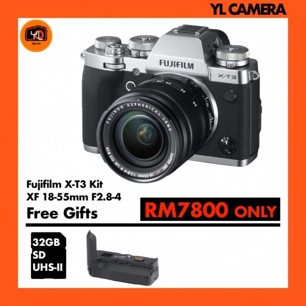 Fujifilm X-T3 + XF 18-55mm f/2.8-4R LM OIS W/ Vertical Battery Grip (Silver)