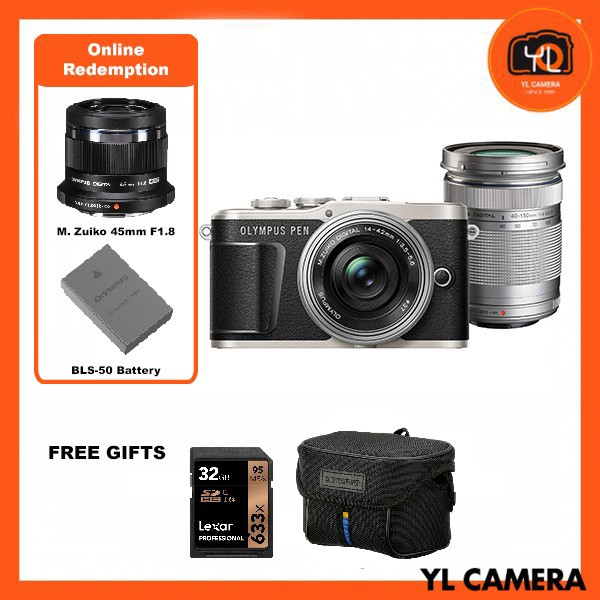 Olympus E-PL9 Twin Lens Kit [14-42mm + 40-150mm] (Black) [Free Lexar 32GB 95MB SD Card + Olympus Camera Bag] [Online Redemption 45mm F1.8 + Extra Battery]