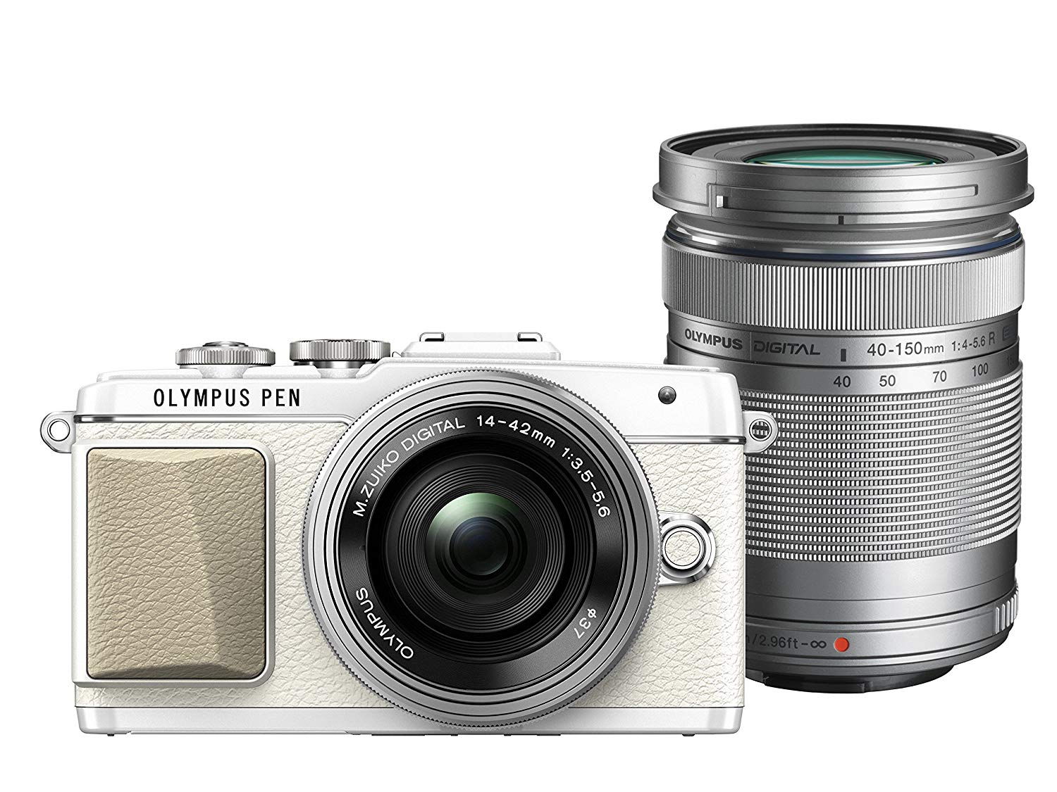 Olympus E-PL9 Twin Lens Kit [14-42mm + 40-150mm] (White) [Free Lexar 32GB 95MB SD Card + Benro ELZ10 Camera Bag]