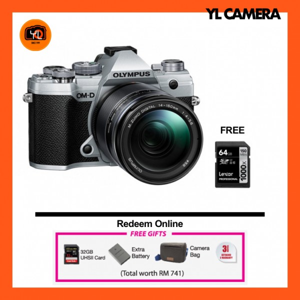 (Promotion) Olympus OM-D E-M5 Mark III W/ 14-150mm Lens - Silver (Free Lexar 64GB SD Card 150MB/s)