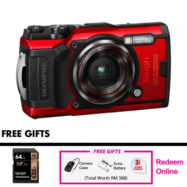 (Promotion) Olympus Tough TG-6 (Red) [Free LEXAR 64GB SD Card] [Online Redemption Extra Battery + Camera Case]