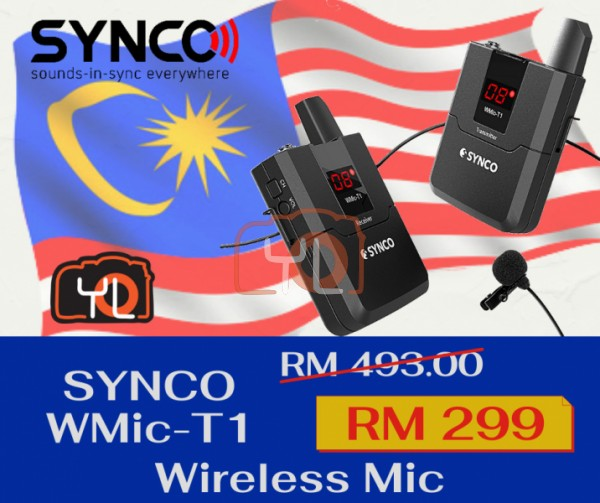 Synco Audio WMic-T1 16-Channel UHF Wireless Lavalier Microphone System with Transmitter, Receiver and Lavalier Mic