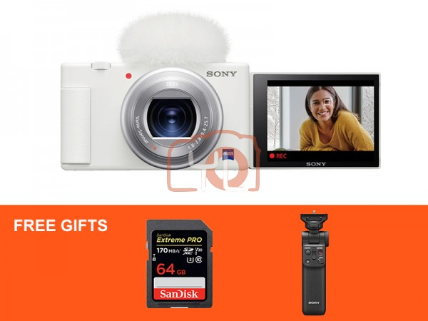 Sony Z-V1 Vlog Digtal Camera (White) W/ Sony Wireless Shooting Grip