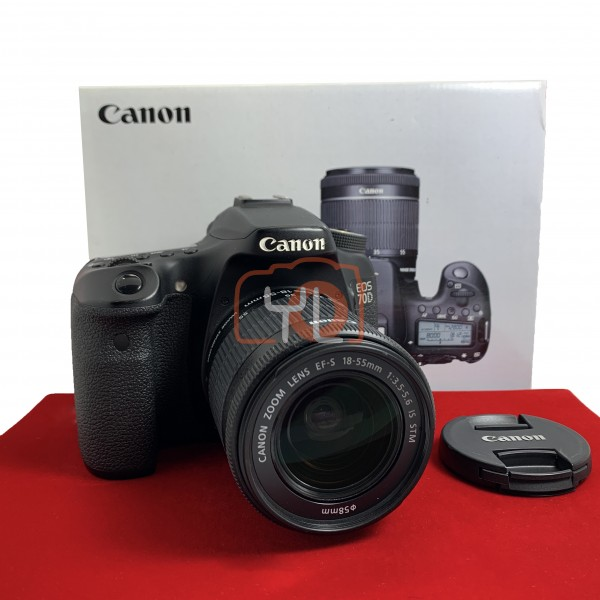 [USED-PJ33] Canon 70D With 18-55MM F3.5-5.6 IS STM EFS, 90% Like New Condition (S/N:48021001828)