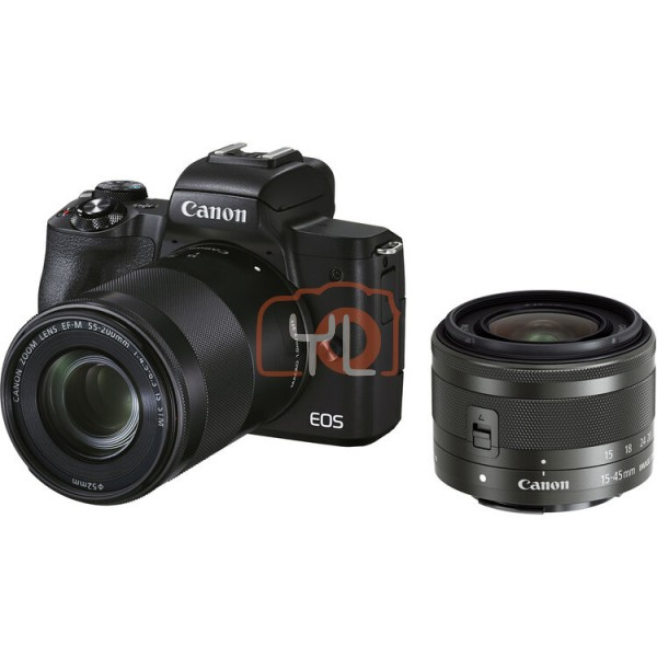Canon EOS M50 Mark II + EF-M 15-45mm F3.5-6.3 IS STM + EF-M 55-200mm F4.5-6.3 IS STM - Black (Free 32GB SD Card + Camera Bag)