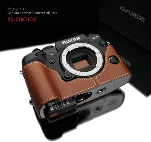 Gariz Genuine Leather XS-CHXT1CM Camera Metal Half Case for Fuji Fujifilm X-T1 XT1, Camel Brown
