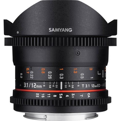 Samyang 12mm T3.1 VDSLR Cine Fisheye Lens for Canon EF Mount