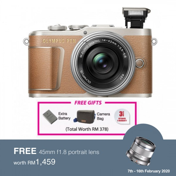 (Flash SALE) Olympus E-PL9 +  M.Zuiko 14-42mm EZ (Brown) [Free Lexar 32GB 95MB SD Card + Benro ELZ10 Camera Bag]