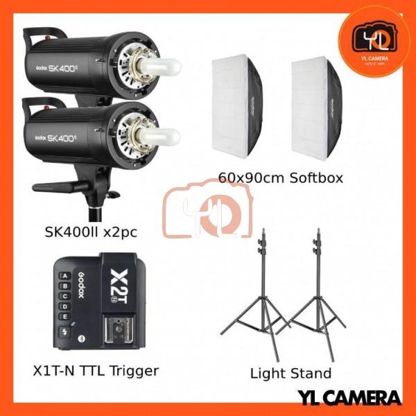 Godox SK400II Studio Flash 2 Lihgt Kit (60x90cm Sfotbox , Light Stand , X2T-Nikon TTL Trigger)