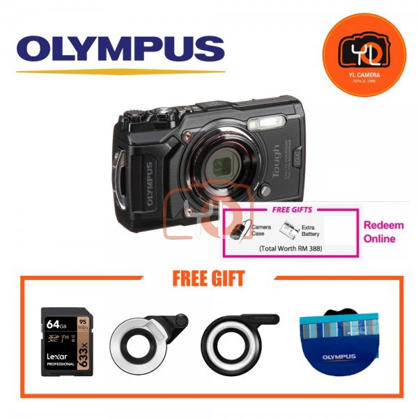 Olympus Tough TG-6 (Black) With FG1 & LD1 Combo [Free LEXAR 64GB SD Card] [Online Redemption Extra Battery + Camera Case]