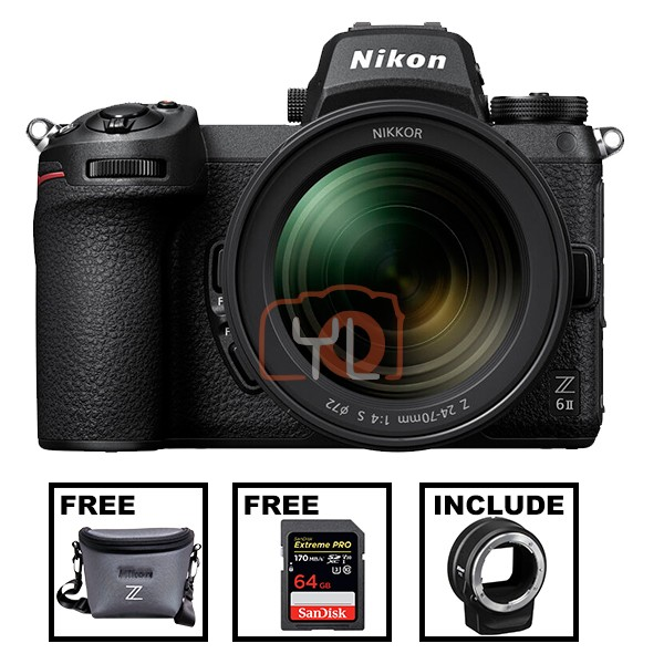 NIkon Z 6 II + Z 24-70mm F4 S W/ FTZ Lens Mount Adapter (Free Camera Bag + SanDisk 64GB ExtremePro SD Card)