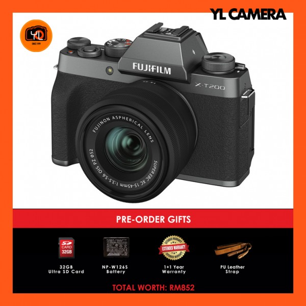 (Pre-Order) Fujifilm X-T200 + XC 15-45mm f/3.5-5.6 OIS PZ (Dark Silver) [Free 32GB SD Card + Extra Battery + Extra Warranty + Leather Strap)