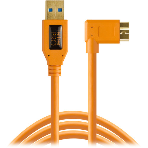 Tether Tools CU61RT15-ORG USB 3.0 Type-A Male to Micro-USB Right-Angle Male Cable (15', Black)