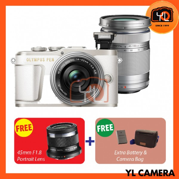 Olympus E-PL9 Twin Lens Kit [14-42mm + 40-150mm] (White)  [Free Lexar 32GB 95MB SD Card] [Online Redemption 45mm F1.8 + Extra Battery + Olympus Camera Bag]