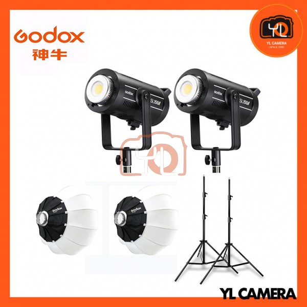 Godox SL150W II LED Video Light 2 Light with CS-65D Latern Softbox Stand Profession Combo Set