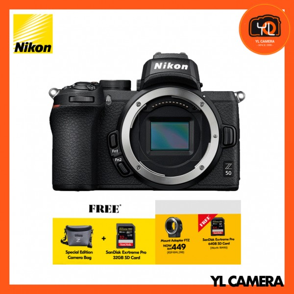 (PROMO) Nikon Z 50 Camera (Body Only) + FTZ Mount Adapter