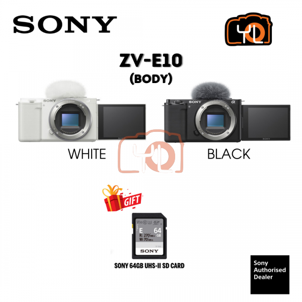 Sony ZV-E10 Mirrorless Camera (Body Only, Black) ( Free Sandisk 64GB Extreme Pro SD Card )
