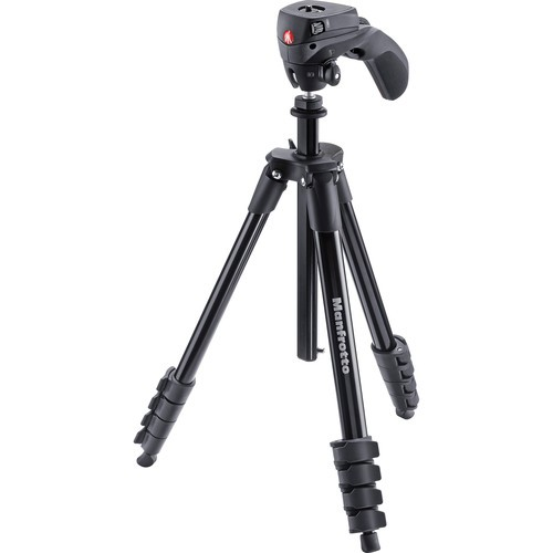 Manfrotto MKCOMPACTACN-BK Compact Action Aluminum Tripod (Black)
