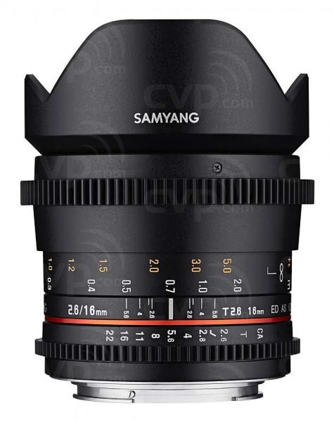 Samyang 16mm T2.6 Full Frame Cine DS Lens for Pentax K