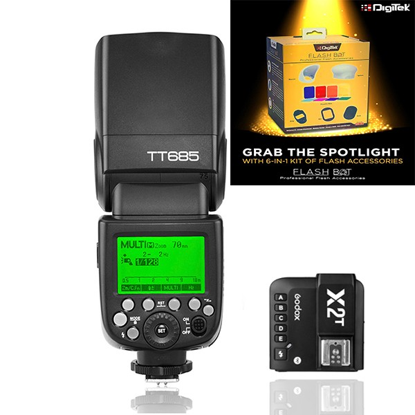 Godox TT685F Thinklite TTL Flash with X2T-F Trigger Kit for Fujifilm + Digitek Flash BOT Kit DFB-001 Combo Set