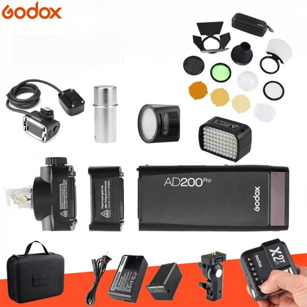 Godox AD200Pro TTL Pocket Flash Kit X2T-C-Canon +EC200 Extension + H200R Round Flash Head + AD-L LED Head + AD-S15 Flash Bulb Metal Cover and AK-R1 Combo Set