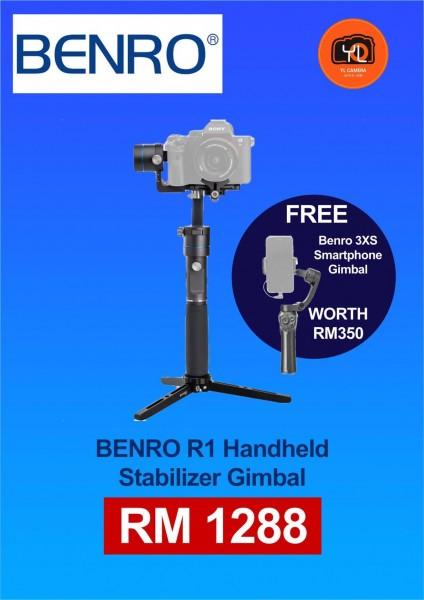 (Promotion) Benro R1 Mirrorless Handheld Gimbal Stabilizer Free Benro 3XS Smartphone Gimbal