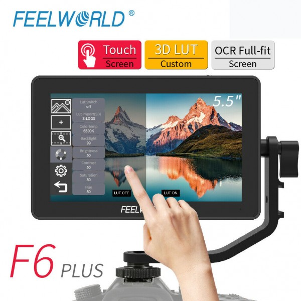 FEELWORLD F6 Plus 5.5 inch DSLR Camera Field Touch Screen Monitor with 3D Lut Small Full HD 1920x1080 IPS Video Peaking Focus Assist 4K HDMI 8.4V
