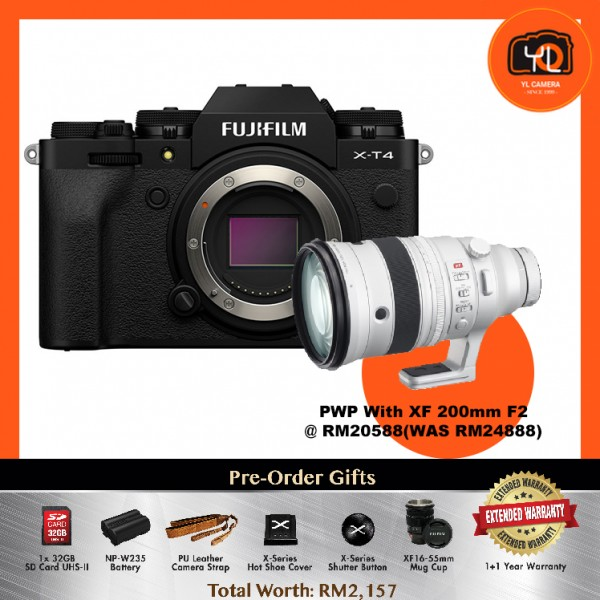 (Pre-Order) Fujifilm X-T4 - Black [With XF 200mm F2 R LM OIS]