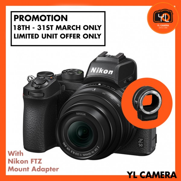 (Promotion) Nikon Z 50 Camera + DX 16-50mm F3.5-6.3 VR + FTZ Mount Adapter (Free 32GB ExtremePro SD Card + Camera Bag)