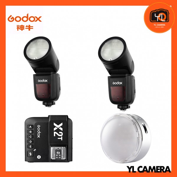 Godox V1 TTL Li-ion Round Head Flash 2 Light Kit + R1 Round RGB Mini Creative Light With X2T 2.4 GHz TTL Wireless Flash Trigger for Canon Super Combo Set