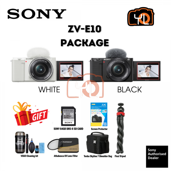 Sony ZV-E10 Mirrorless Camera with 16-50mm Lens (Black)  Bundle with Extra Accessories - ( Free Sandisk 64GB Extreme Pro SD Card )