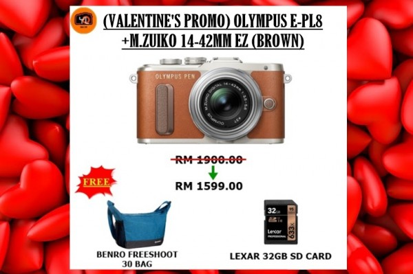 Olympus E-PL8 +  M.Zuiko 14-42mm EZ (Brown) [Free Lexar 32GB 95MB SD Card + Benro  Camera Bag]