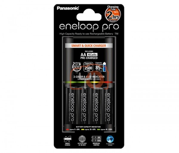 Panasonic Eneloop PRO AA Rechargeable Batteries with LED Quick Charger (2550mAh, 4-Pack)