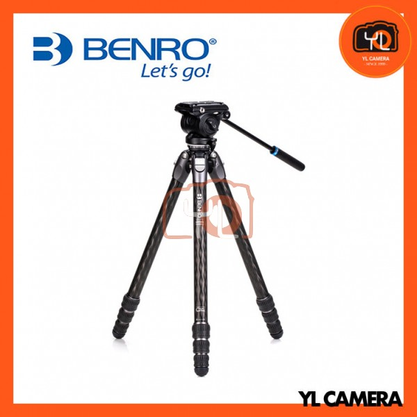 Benro TTOR24CLVS4PRO Tortoise Columnless with Leveling Base Carbon Fiber Two Series 4-Leg Section Tripod with S4PRO Flat Base Video Head