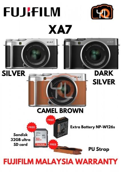 Fujifilm X-A7 + XC 15-45mm f/3.5-5.6 OIS PZ (Silver) ( Free 32GB UHS II Card , Extra Battery NP-W126s , PU Strap )