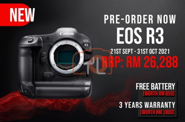 Canon EOS R3 Mirrorless Digital Camera (Body Only) Free Extra Battery