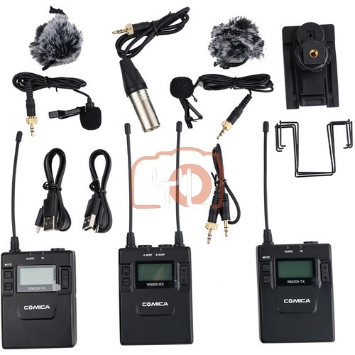 (PRE-ORDER) Comica Audio CVM-WM300A 2-Person Camera-Mount Wireless Omni Lavalier Microphone System with Rechargeable Batteries
