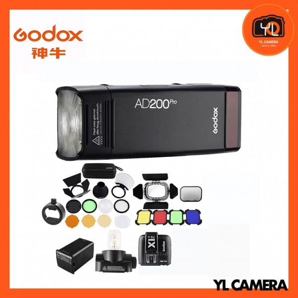 Godox AD200Pro TTL Pocket Flash Kit with X1T-O TTL Wireless Flash Trigger + BD-07 Barn Door Honeycomb Kit + AK-R1 Accessory Kit + SR1 Round Head Adapter for Olympus/Panasonic Combo Set